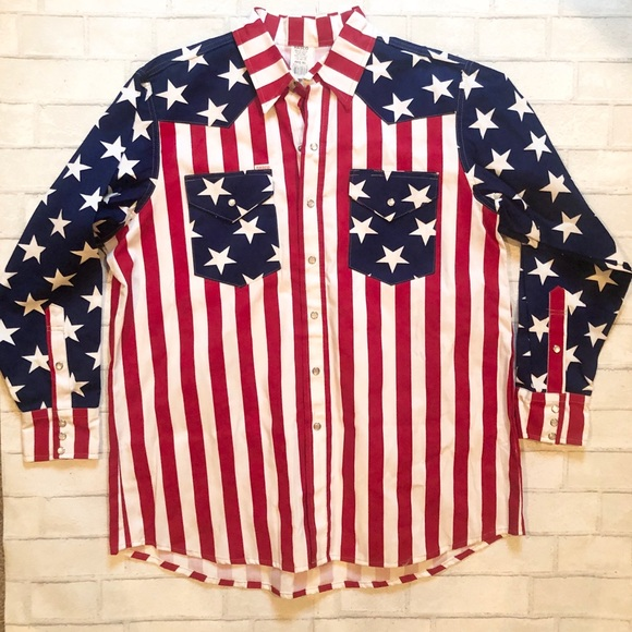 RASCO American flag pearl snap button down